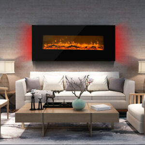 Fireplace Wall Mounted Electric Fire Black Flat Glass with Remote Control 2021
