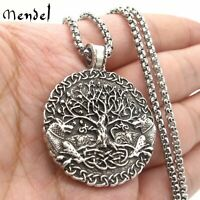 MENDEL Mens Norse Viking Amulet Fenrir Wolf Celtic Tree of Life Pendant Necklace