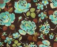 Urban Rapsody brown blue roses Exclusively Quilters fabric