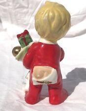 Vintage Christmas Porcelain Figurine Boy Blonde Holding Stocking Japan PJ's Butt