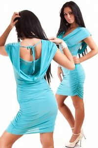 Womens Sexy Lace Cowl Neck Bodycon Party Mini Dress size 8 10 12
