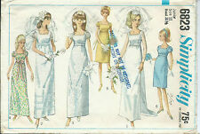 S 6823 sewing pattern 60's Bridal GOWN Empire Wedding DRESS sew Detachable Train