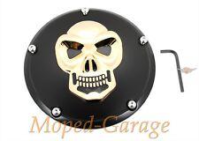 Harley Derby Cover Kupplungsdeckel Black 3-D Skull Twin Cam Dyna Street Bob Neu*