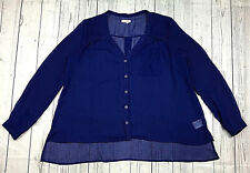 Silence + Noise UO womens L blue long sleeve sheer button down high low shirt
