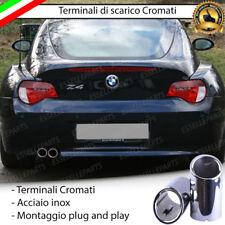 COPPIA TERMINALI DI SCARICO PER MARMITTA FINALINO CROMATO INOX BMW Z4 TONDI