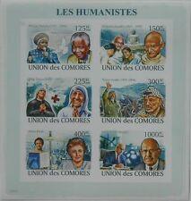 Humanists Mandela Gandhi Mother Teresa Arafat Comores m/s Sc.1045 CM8207a IMPERF