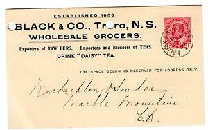 BLACK & CO. TRURO, NOVA SCOTIA ON PRIVATE POST CARD- 1909 -WHOLESALE GROCER, RPO