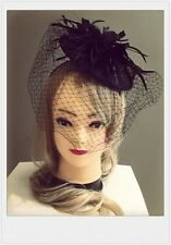 Classic Fascinators Vintage Black Flower With Veil Flower Racing Wedding Party
