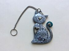 Vintage Heavyweight Embossed Cat Lover Pewter Car Charm 120g or 4.1oz