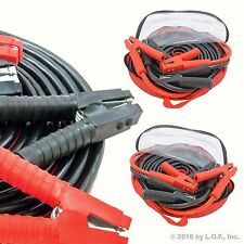 2pc Heavy Duty Industrial Jumper Booster Cables 1 Gauge 25 Feet Super Duty Case