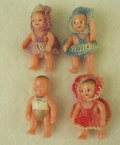 "Vintage Renwal Miniature Dolls~3 Girls w/Crochet Dresses~1 Boy~1950s~Plastic 2"""