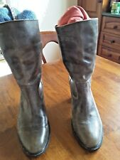 Mollini western leather boots calf length green/blue/bronze col.vintage look