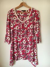 Savoir Pink Floral Stretch Viscose Long Skeeve top Size 16 <T6977