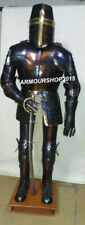 Blue Antique Knight Full Suit of Armor Wearable Costume with Base
