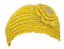 Sparkly Loose Knit Winter Headband W/Jeweled Button, Warmer,  #471 Yellow