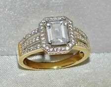 9CT YELLOW GOLD & SILVER 2.25ct LADIES COCKTAIL / DRESS / ENGAGEMENT RING size P