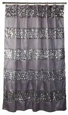 Shower Curtain Silver Gray Striped Sequin Sparkling Elegance Design 70 x 72 inch