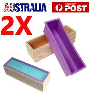 2X Wood Loaf Soap Mould Melt w/ Silicone Mold Cake Making Wooden Box Handmade