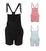 Womens Ladies Short Dungaree Jeans Denim Colours Pinafore Overall Dress Playsuit