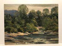 "Early 1900's Oil ""The Small Bridge "" By Rhode Island Artist Albert Thayer"
