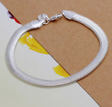 Wholesale 925 Sterling Silver Unisex Flat Soft Snake Bone Bracelet 6MM H164
