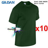 10 Pk Gildan Forest Green T-SHIRT Basic Tee S - 5XL Men Heavy Cotton