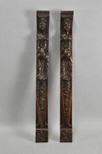 a77l19- 2x Holzapplike/ Zierteil, Nussbaum geschnitzt, Klassizismus um 1800