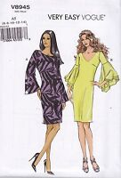 Very Easy Vogue Sewing pattern Misses' Semi Fitted 1970s Dress Sizes 6 -22 V8945
