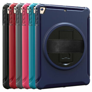 """For iPad 6th 5th Gen Mini 4 5 Air 2 Pro 9.7"""" Rotated Stand Hand Strap Case Cover"""