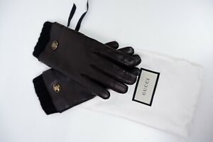 Gucci New Black Leather Gloves Women's Size 8 Cashmere Lined 20.5cm Neo Tiger