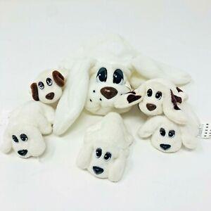 VTG 1995 POUND PUPPIES Plush Lot of 6 White Dogs 1 Large 5 Mini