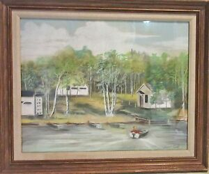 Original Framed Pastel Painting - Lake Scene by Illinois Artist Jewell Tuck