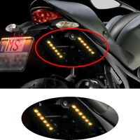 Universal Mini Strip Black led motorcycle Turn signal Amber lights Strips 6LED