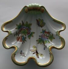 Vintage Herend Hungary Scalloped Shell Dish Queen Victoria Pattern Green & Gold