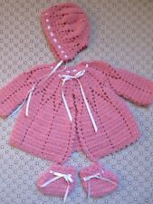 LUXURIOUSLY SOFT PINK BABY GIRL SIZE 3-6 MONTHS CROCHETED LAYETTE SET