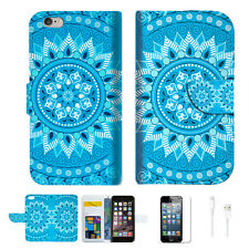 BLUE AZTEC TRIBAL Wallet Case Cover For Apple iPhone 6 6S -- A001