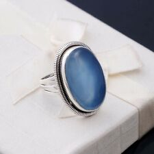 BLUE CALCITE NATURAL GEMSTONE 925 STERLING SILVER HANDMADE JEWELRY RING 3 TO 12