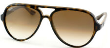 Ray Ban RB 4125 Cats 5000 710/51 Tortoise Plastic Aviator Sunglasses