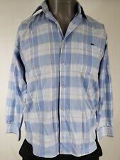 LACOSTE Blue Plaid Button Down Shirt Size 38 / Small