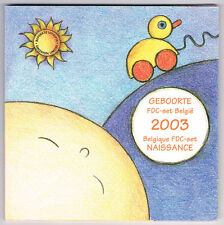 """BELGIQUE COFFRET BU """"FDC SET NAISSANCE"""" 2003 réf : 16 188 12"""