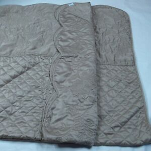 MARTHA STEWART COLLECTION Quilted Twin Bedspread Lush Brown Embroidery Sz 110×81