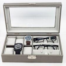 6 WATCH 3 EYEGLASS CARBON FIBER STORAGE DISPLAY GRID GLASSES CASE ORGANIZER BOX