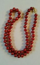 14k Gold Pearl Necklace Red Pearls 7mm Knotted Imperial Pearls Josh Bazar HSN