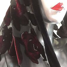 "Besarani Collection London Miliano Silk Scarf Black Red Floral Roses 70"" X20"""