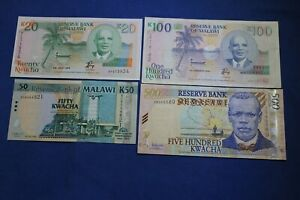 MALAWI 4 BANKNOTES better types mostly UNC take a look--> see many more auctions