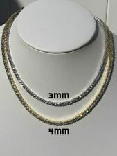 Ladies Tennis Chain SOLID 925 Sterling Silver Single Row ITALY Man Made Diamonds