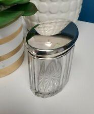 Antique Vintage Sterling Silver Crystal Glass Oval Vanity Powder Trinket Jar Box