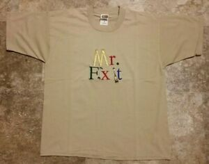 """90's Vintage Mr. Fix It Repair Embroidered T-Shirt Large Single Stitch 20"""" x 26"""""""
