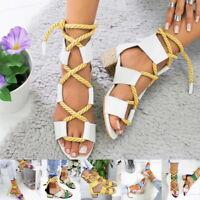 Womens Ladies Lace Up Tie Up Espadrilles Platform Shoes Wedge Sandals Size 2.5-8