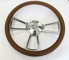 "Tan and Billet Steering Wheel Fits Ididit Column 14"" Ford Center Cap"